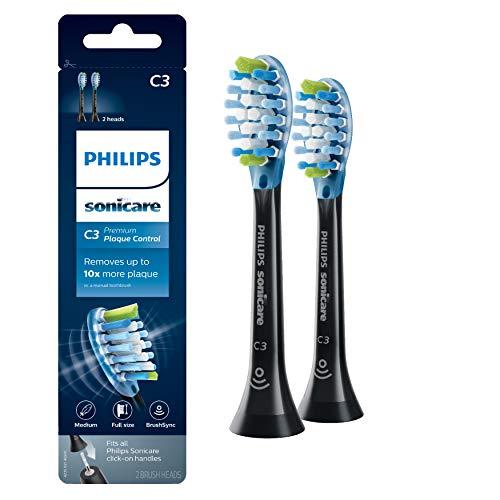 Genuine Philips Sonicare C3 Premium Plaque Control Toothbrush Head, HX9042/95#, 2-pk, Black