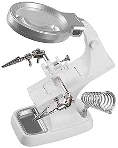GWDFSU Lupa LED de Soldadura 3X / 4.5X, Lupa de Soldador Multifuncional, Soporte de Pinza de cocodrilo, Herramienta de reparación de Soldadura Manual