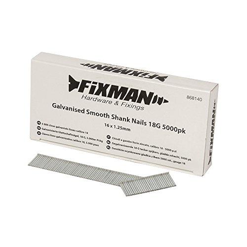 Fixman 868140chiodi a gambo liscio zincato 18g 5000PK 16x 1.25mm