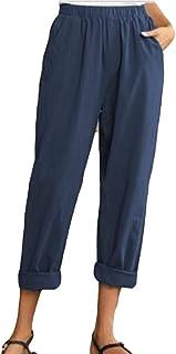 Frieed Women Solid Trousers Casual Elastic Waist Cotton Linen Harem Pants