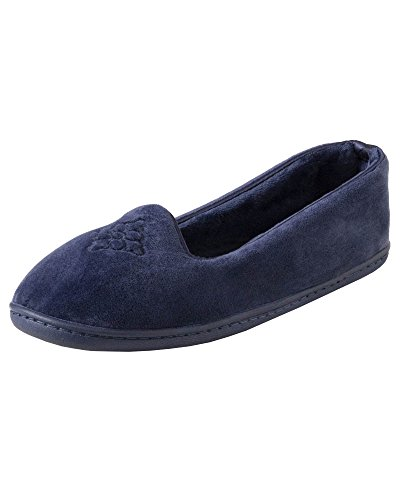 Dearfoams Women's Rebecca Microfiber Velour Closed Back Slipper,Peacoat,L