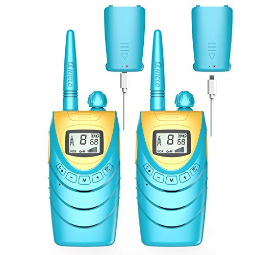 QNIGLO Q188 Walkie Talkie Niños Recargable USB,8 Canales PMR446 Comunicación Bidireccional,Equipo de Espía,Aventuras al Aire Libre Regalos Creativo por Navidad Cumpleaños para Niñas Niños(Azul)
