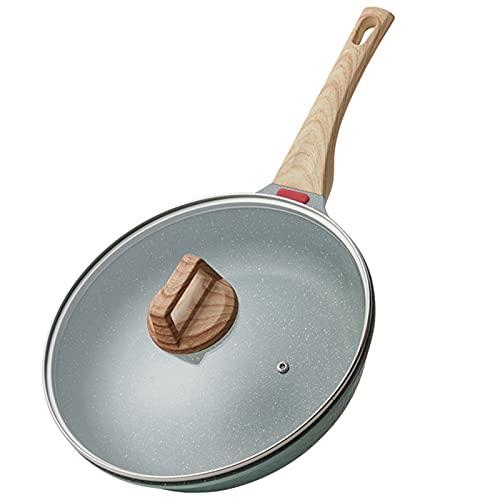 Sartén de freying antiadherente con tapa de tortilla para panqueques Pescado Filete de pollo Inducción compatible con la aleación de aluminio 20/24/28 cm,20cm