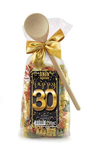 Pasta Präsent Happy 30 mit bunten Zahl-Nudeln handgefertigt in deutscher Manufaktur