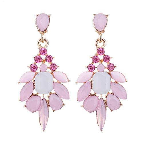 Zhouba - Pendientes colgantes para mujer, diseño de flor de resina con diamantes de imitación