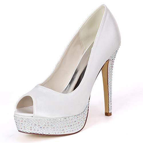 LGYKUMEG Mujer Zapatos de Boda Tacón Stiletto Punta Abierta Salón de Boda...