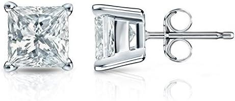 1/4 ct Princess cut Diamond Stud Earrings in 14k White Gold (TDW Good, I1-I2) 4-Prong Basket, Push-Back by Diamond Wish