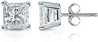14k White Gold 4-Prong Basket Princess-cut Diamond Stud Earrings (1/4 ct Good I1-I2)