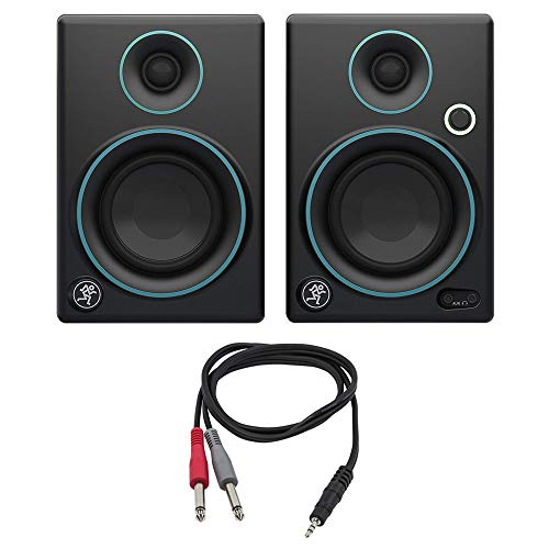 """Mackie CR3 CR Series 3"""" Creative Reference Multimedia Monitors (Pair) Custom Blue with Monoprice 1/8"""" TRS Male to Two 1/4"""" TS Male Cable, 3 Feet"""