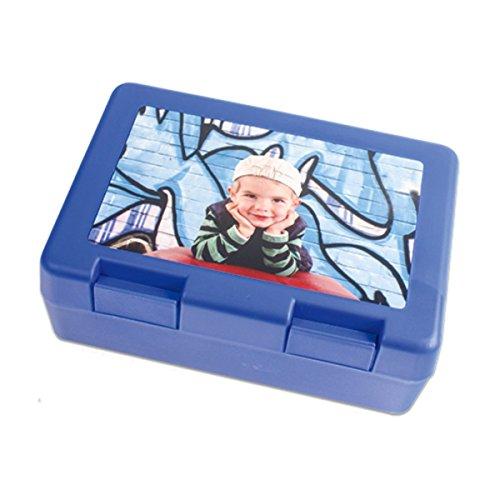 Kinder Brotdose, Brotbüchse mit deinem Foto/Text veredelt, Farbe blau