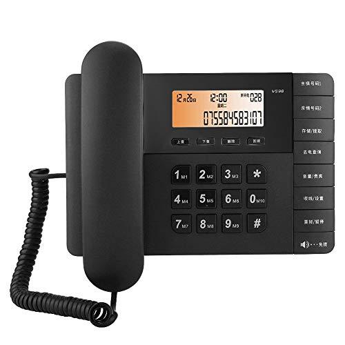 Dpofirs Teléfono Fijo inalámbrico para el hogar Teléfono de Llamadas Manos Libres HD con función de visualización de música, Pantalla de identificación de Llamadas(Black)