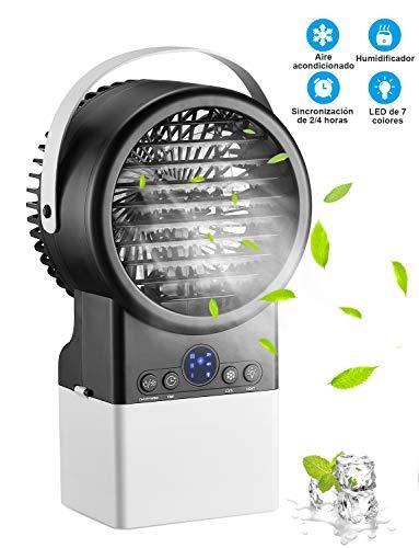 Mini Aire Acondicionado, Humidificador, Purificador, Ventilador en Mesa con Tanque de Agua, 7 Colores de Luz, Cómodo para Dormitorio, Oficina
