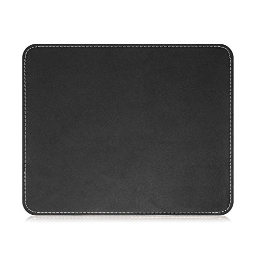 Insten Premium Leather Mouse Pad with Waterproof Coating, Non Slip & Elegant Stitched Edges, Black