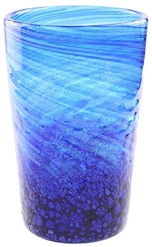 琉球ガラス コバルト ビア 珊瑚礁広がる海を底から見上げたようなビアグラス 沖縄製 (青)