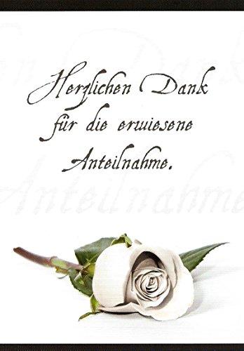 Trauer Danksagungskarten Trauerkarten ohne Innentext Motiv liegende Rose 25 Klappkarten DIN A6 mit weißen Umschlägen im Set Dankeskarten Dankeschön Karten Kuvert Danke sagen Beileid (K47)