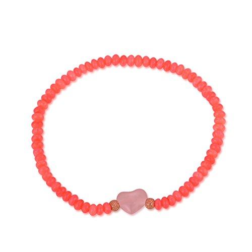 MBLife tinti Peach rosa corallo & Rose braccialetto di perline di quarzo rosa a forma di cuore, 17,8cm