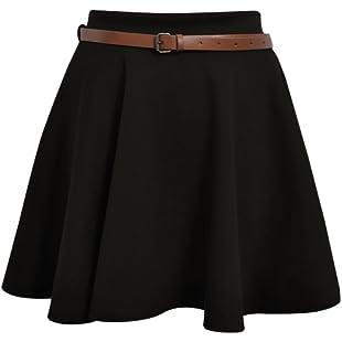 Skater Belted Stretch Waist Plain Flippy Flared Short Skirt Black Womens Size 10