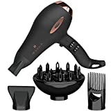 Wazor 1875W Professional Grade Hair Dryer Tourmaline Turbo Powerful Blow Dryer Compact Quite Hairdryer with Diffuser & Comb & Concentrator, Beautiful Gift Box for Gift Giving