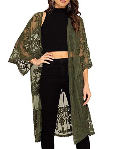 Bsubseach Women Mesh Lace Beach Kimono Cardigan Open Front Swimsuit Cover Ups Swimwear Green