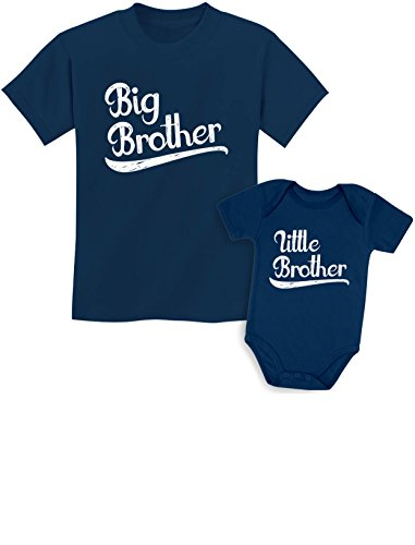 Sibling Shirts Set for Big Brothers and Little Brothers Boys Gift Set Kids Shirt Navy/Baby Navy Kids Shirt 5/6 / Baby Newborn