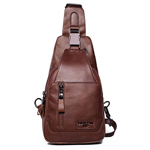 Borsa a Tracolla Die Tasche Ist in Zwei Farben, Braun und Kaffee Farbe unterteilt, Sie können Die Farbe Nach Ihren Vorlieben wählen. Geeignet zum Laufen, Wandern, Camping, Jagd, Radfahren, Einkaufen,