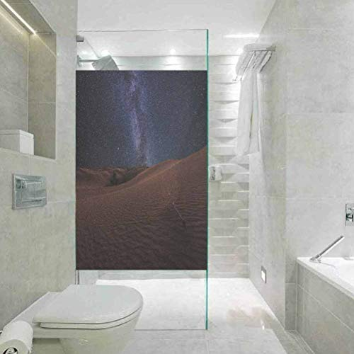 Bathroom Shower Door Glass Film, Space Life on Mars Themed Surreal Surface of Gobi Desert Dune Oas, Non Adhesive No Residue Easy Trim Films for Sun Blocking, 17.7'x35.4'