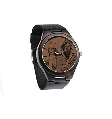 Reloj con Imagen grabada Reloj de Madera Personalizado Reloj con Foto de Pareja Reloj Unisex Aniversario para Mujer(Marron Oscuro Mujeres-39mm)