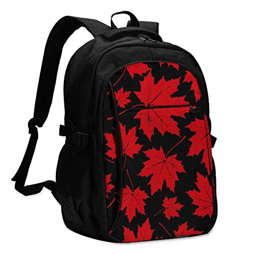 XCNGG Mochila USB con múltiples bolsillos, mochila informal, mochila escolar Laptop Backpacks Tactical Vintage Floral Autumn Seamless Pattern with Maple Leaves Office & School Supplies with USB Data C