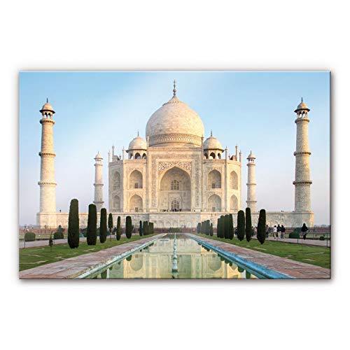 Plexiglas Schilderij Taj Mahal| Acrylglas Wanddecoratie | 100x70 cm (bxh) | Ook Geschikt voor Buiten als Tuinschilderij