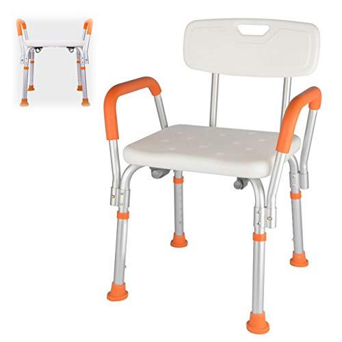 Douchestoel, antislip verstelbare badkruk met afneembare armleuning en rugleuning - voor ouderen Senior gehandicapte