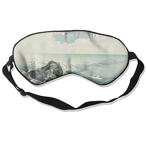 Schlaf-Augenmaske, Insel, Meereswelle, leicht, weich, verstellbarer Kopfgurt, Augenklappe, Reiseaugenklappe, E6