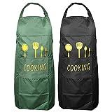 Xinda 2 Stücke 70*80CM Küchenschürze Grillschürze für Männer und Frauen Wasserdichte Schürze mit Große Taschen und Verstellbarem Nackenband für Küche Restaurant Café