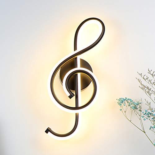 Led Moderne Wandleuchte- 22W Led Wandlampe Schlafzimmer Neben Wandleuchte Musik Notenschlüssel Form Home Indoor Wohnzimmer Dekoration Beleuchtung Schwarz