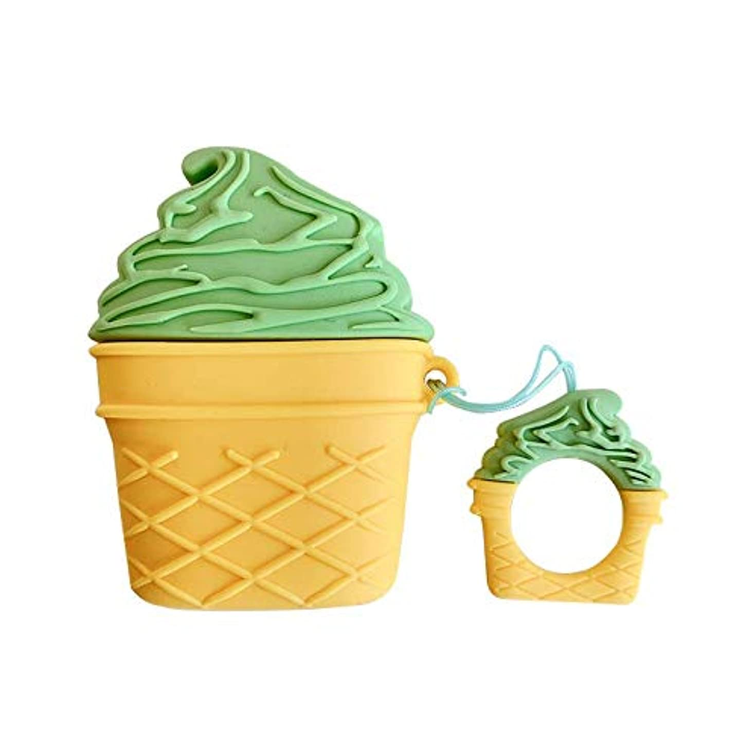 Ultra Thick Soft Silicone 3D Matcha Ice-Cream Cone Case for Apple Airpods 1 2 Charging Case Finger Loop Protective Mini Bag Protector Shockproof Summer Fresh Creative Cute Lovely Gift Girls Boys Kids