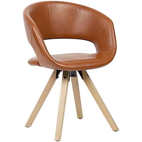 FineBuy Esszimmerstuhl Braun Kunstleder/Massivholz Retro | Küchenstuhl mit Lehne | Stuhl mit Holzfüßen | Polsterstuhl Maximalbelastbarkeit 110 kg