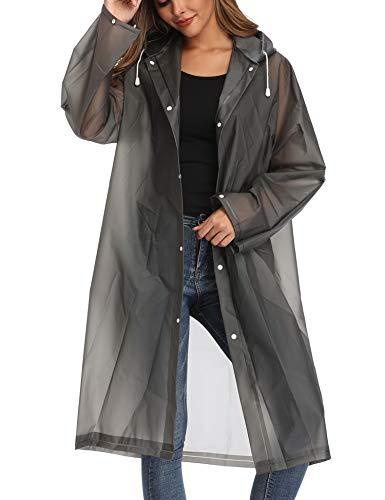 Besshopie EVA Raincoat Waterproof Rain Poncho Reusable Unisex Men Women Long Clear Rain Wear (Black Gray, M)