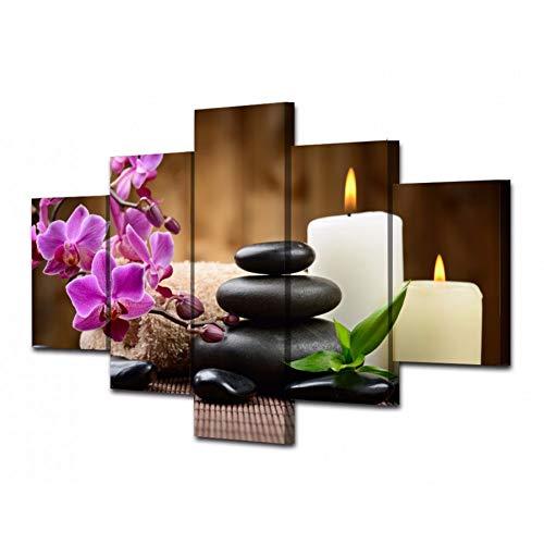 HSDVJZC HD-druk 100 x 55 cm HD 5 stuks canvas kunst kaars lotusbloem orchidee schilderij wand modulaire afbeeldingen Home Decoration woonkamer