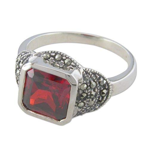 Genuine Sterling Silver Ring Square Synthetic Garnet/Marcasite Cluster Brand New