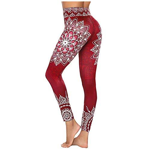 Keepwin Leggins Push Up Mujer Estampado de Floral Alta Cintura Mallas Deportivos Mujer Pantalones Yoga Mujer Elásticos Pantalon de Entrenamiento para Running Gym Fitness (Rojo, Small)