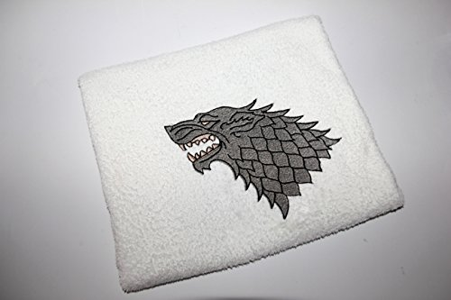 Handtücher mit Stickerei, Bestickte Handtücher, DUSCHTUCH, HANDTUCH,GÄSTETUCH mit Stickmotiven, Badetücher, Game of Thrones, Stark, Winter is coming