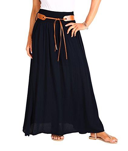 KRISP 4809-BLK-SM, Falda Larga Bohemia Elegante Plisada Hippie Cintura Elástica, Negro (4809), S/M