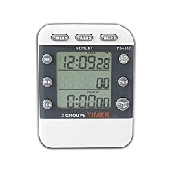 Digital 3 Channel Alarm Timer, Electronic Countdown LCD Clock Timer