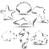 Under the Sea Creatures Cookie Cutter Set-3 Inches-7 Piece-Shark, Seastar, Seashell, Seahorse, Whale, Octopus, Fish Cookie Cutters Molds for Kids Birthday Party Supplies Favors.