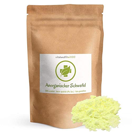 Anorganischer Schwefel (sulfur) - 500 g - BESTSELLER - 99,9% pharmazeutisch rein (Ph. Eur.) - fein gemahlen - Schwefelpulver, Sulfurpulver - aus Naturrohstoff - säurearm - 100% MADE in GERMANY