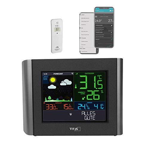 TFA Dostmann WLAN Wetterstation Meteo, 35.8000.01, Profi-Wettervorhersage, kostenlose View App, einstellbare Alarme, Taupunkt, Hitzeindex, schwarz