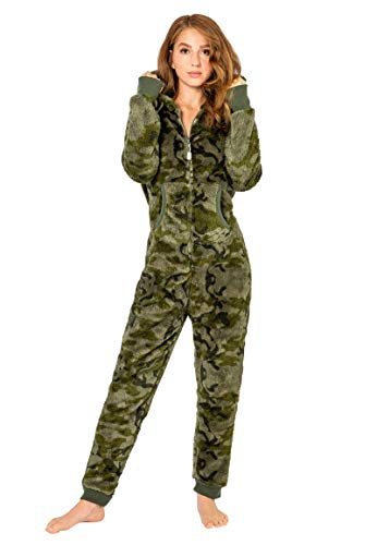 Eight2Nine Damen Jumpsuit Overall aus Teddy Fleece mit Ohren Dark-Green XS/S
