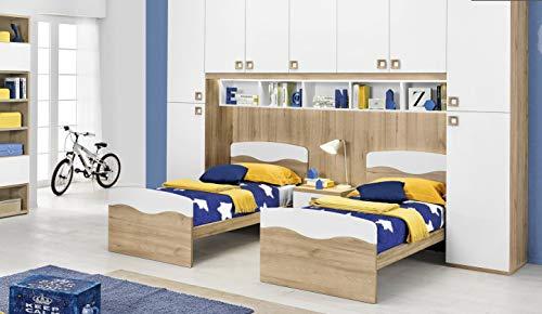 Dafne Italian Design Dormitorio completo con puente, efecto haya, blanco (doble cama individual y armario) (350 x 58 x 259 cm)
