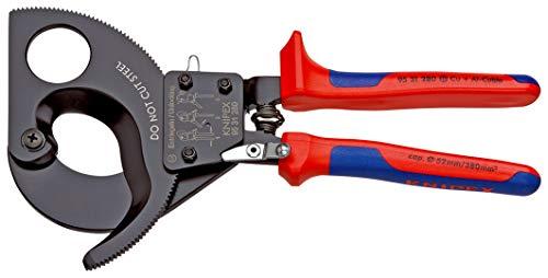 KNIPEX 95 31 280 Kabelschneider (Ratschenprinzip) mit Mehrkomponenten-Hüllen 280 mm