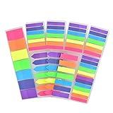 FOROREH 1400 Note adesive Trasparenti Bandiere Set di schede Indice, Note adesive Etichette scrivibili Indicatori di Pagina Segnalibri Strisce evidenziatore di Testo, 7 Colori