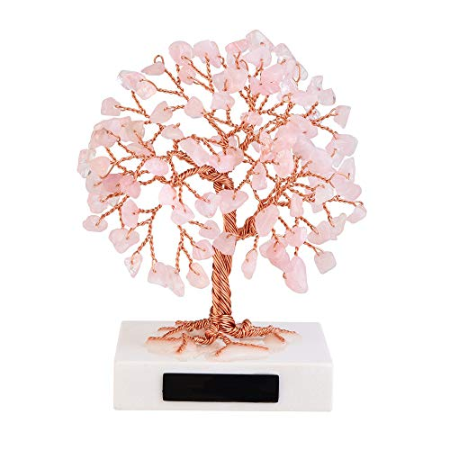 Jovivi Rose Quartz Crystal Money Tree Feng Shui Ornaments Mini Natural Pink Quartz Healing Gemstone Tree Bonsai Fortune Figurines White Marble Stone Base for Wealth Luck Living Room Home Decoration
